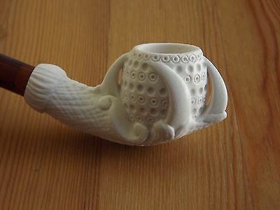 Turkish Mini Meerschaum Tobacco Pipe Lattice Claw & Egg