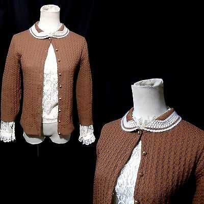 Vtg 50s Brown Cardigan Sweater XS/S Cashmere Peter Pan Collar Glass Pearl Button