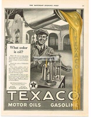 "1923 TEXACO Gas Motor Oil ""What Color Is Oil"" art Richard V Culter VTG PRINT AD"