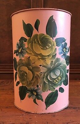 Vintage Tole Ware Hand Painted Floral Tin Trash Can Wastebasket-Toleware