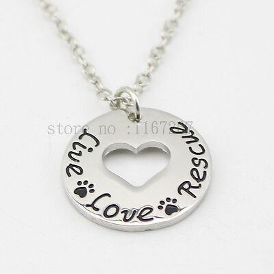 """""""Live Love Rescue """"Necklace Pet Lover Dog Cat Paw Print Heart round Necklace"""