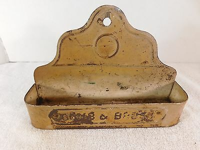 Antique Vintage Tin Wall Mount Comb & Brush Holder, Raised Letters