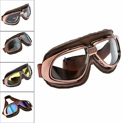 Aviator Pilot Motorcycle Goggles Cafe Racer Cruiser Scooter Flying Glasses Retro