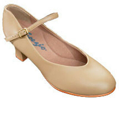 Capezio Womens Caramel Leather Character Shoes 2 Inch Heel - 8 Medium