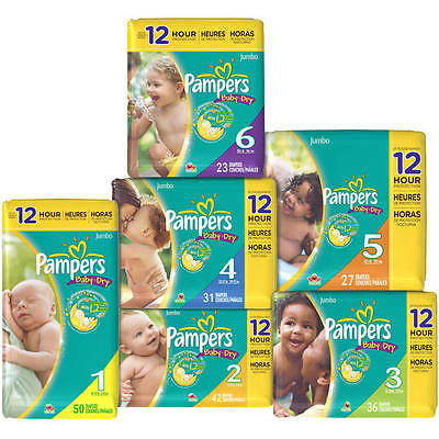 Pampers Baby Dry Diapers Size 1, 2, 3, 4, 5, 6 CHEAP!!! NO TAX