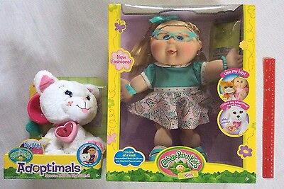 Cabbage Patch Kids CPK Blonde Girl Doll & WHITE KITTY CAT Adoptimals Pet Lot NEW
