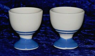 Blue and cream stripe traditional shaped egg cup. Sold in sets of 2/4/6 eggcups