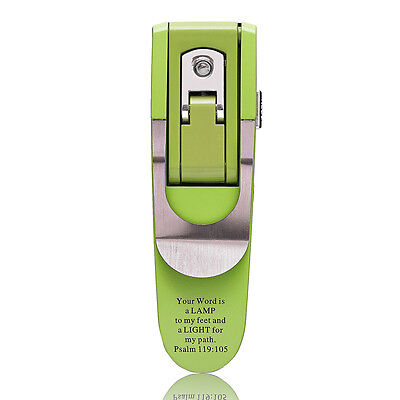 Green BOOK LIGHT Clip-on LED Compact PSALM 119:105 Bible Scripture Christian