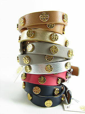 f09cfe4eeb43 NWT TORY BURCH Leather Double Wrap Logo Stud Bracelet AUTH  95 ...