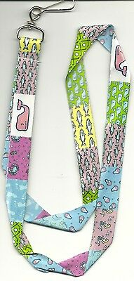 New Authentic Vineyard Vines Classic Patchwork Lanyard With Pink Whale Sticker