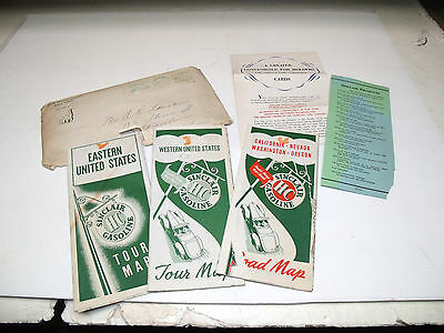 1941 Sinclair Gas Advertising Credit Card Info Maps W/envelope