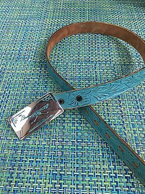 Vtg Marge Riley Turquoise Leather Belt W/silver Metal Roadrunner Buckle Chambers