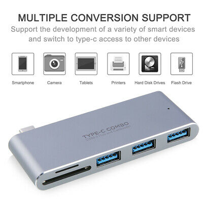 6in1 USB-C Hub Dual Type-C Multiport Card Reader Adapter 4K HDMI For MacBook Pro