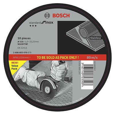 Bosch Metal Cutting Wheel 115mm Angle Grinder Inox Discs 10 Pack