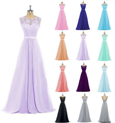 Plus Size Long Lace Formal Bridesmaid Dress Wedding Evening Ball Party Prom Gown