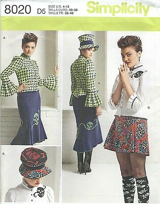 Simplicity 8020 Misses Blouse Hat And Knit Skirts Sewing Pattern