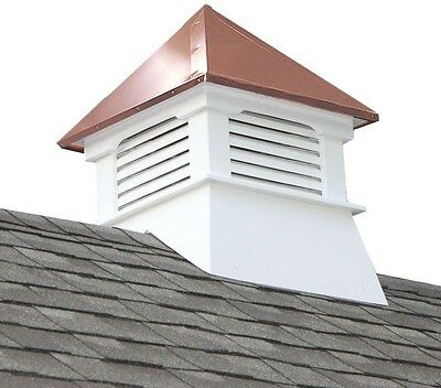 Cupola with Copper Roof White Cellular Base Gabled Hip Roof Teton Vinyl New