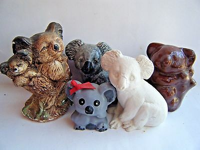 "5 KOALA BEAR JOEY Lot 3 Ceramic 1 Mother & Baby Mixed Material 2"" to 4"" VINTAGE"