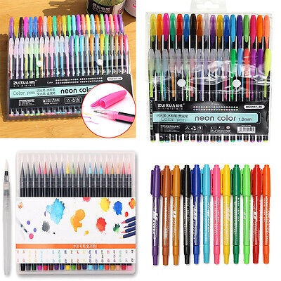 Watercolor Painting Drawing Oil Pen Soft Brush Artist Sketch Markers Set Kit