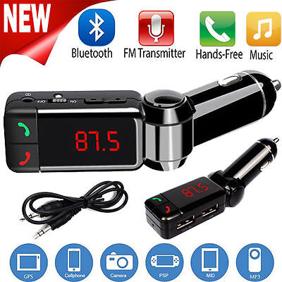 Glamor LCD Bluetooth Car Set FM Transmitter MP3 Charger Handsfree For iPhone New