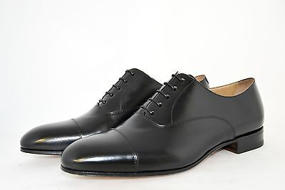 MAN-8½eu-9½usa-OXFORD CAPTOE-FRANCESINA-BLACK CALF-VITELLO NERO-LEATHER SOLE