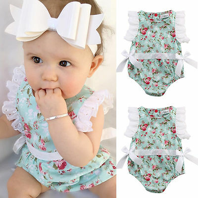New Newborn Toddler Baby Girl Clothes Lace Floral Romper Bodysuit Outfits 0-24M