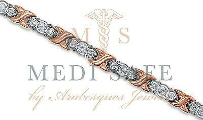Premium Ladies Silver/Rose Gold Titanium/Crystal Magnetic/Pain Relief Bracelet