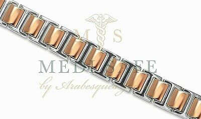 Chunky Mens Rose Gold/silver Titanium Magnetic Healing Bracelet For Pain Relief