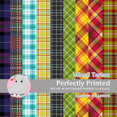 18 Patterned Paper Pack Sq 140mm - Craft Paper - Mixed Tartan