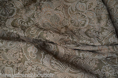 A pair antique French woven brocade curtains, passementerie