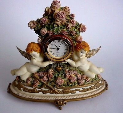 """1993 Franklin Mint """"time For Love"""" Clock Victorian Cherubs By Judith Winslow"""