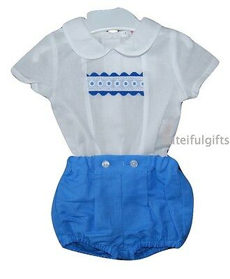 Baby Boys Spanish 2 Piece Ribbon Shirt & Shorts Set/Outfit 0-3 & 3-6 Months