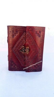 Ancient European Embossed Leather Journal Handmade Paper ,Clasp Closure Notebook