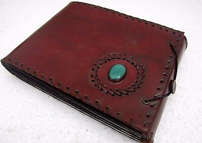 Green Stone Bound Leather Handmade Scrapbook Photo Collection Leather Album