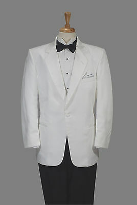 Men's - White One Button Tuxedo Dinner Jacket by Lord West - All Sizes