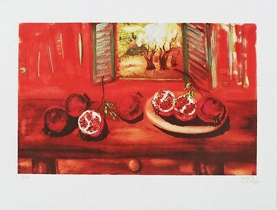 """Reuven Rubin """"pomegranate"""" hand signed lithograph limited edition of 200 only"""