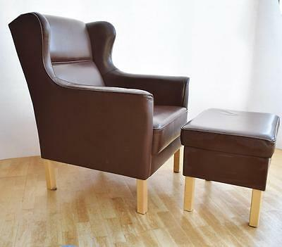 Mid Century Danish Brown Leather Borge Mogensen Style Armchair and Footstool 70s