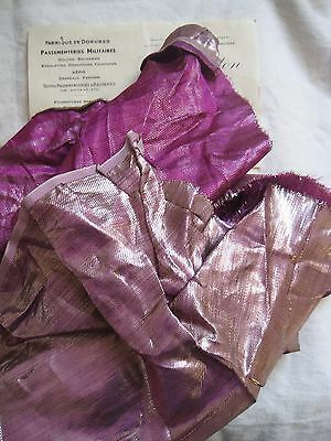 Piece Antique French Lame Silver/Magenta Fabric Metallic Flapper Victorian