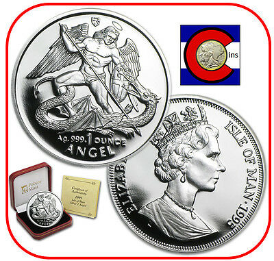 1995 Isle of Man Proof Silver Angel 1 oz. Coin with Mint Box, Airtite & COA