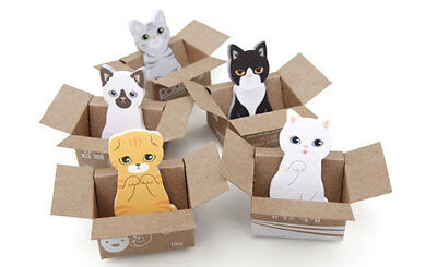 Cute Cat in a Box Kawaii Sticky Notes - Student and teacher post-it bookmarks