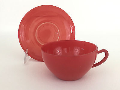 vintage mid-century modern glass cup & saucer 1950's