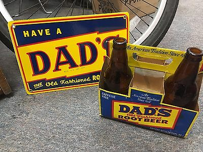 classic DAD'S old fashioned ROOT BEER - PORCELAIN SIGN, VINTAGE bottles & CARTON