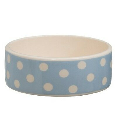 Puppy Pet Dog Cat Ceramic Dish Food Water Feeding Bowl (Blue Spot)