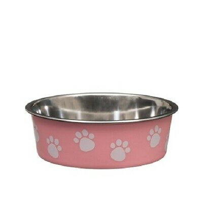 Puppy Pet Dog Cat Non-Slip Stainless Steel Dish Food Water Feeding Bowl (Pink)