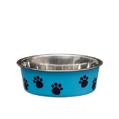 Puppy Pet Dog Cat Non-Slip Stainless Steel Dish Food Water Feeding Bowl (Blue)