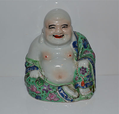 Antique Chinese Small Famille Rose Porcelain Happy Buddha Impressed Maker's Mark