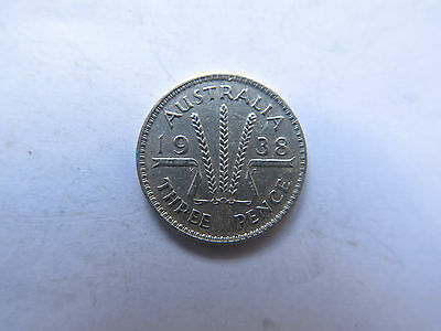 1938 AUSTRALIAN SILVER 3 PENCE King George VI in EXCELLENT CONDITION