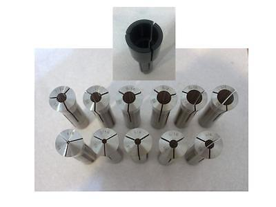 "1/8 - 3/4"" by 1/16"" + 1"" R8 COLLET SET (12 pcs per set) FR BRIDGEPORT .0006"