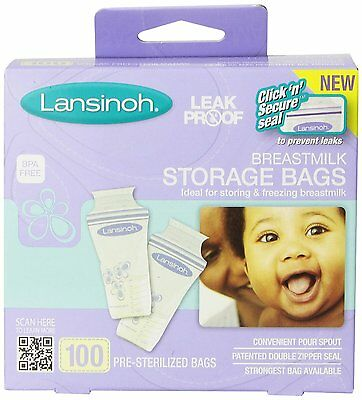 Lansinoh Breastmilk Storage Bags, 100 Count, Ideal for Storing and Freezing, New