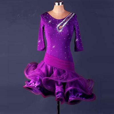 Purple Latin salsa tango Cha cha Samba Rumba Tango Ballroom Dance Evening Dress